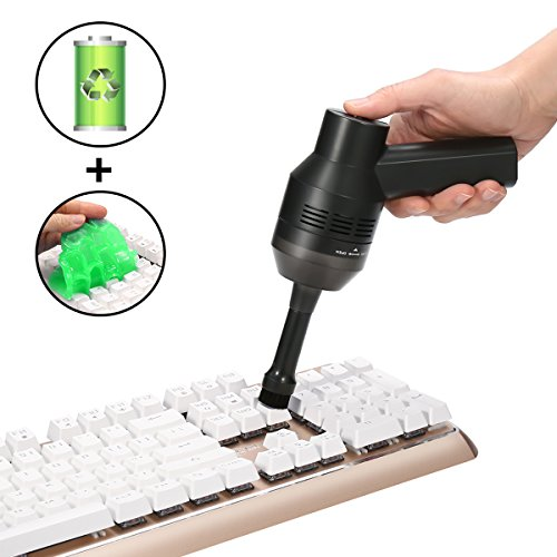 Cordless Keyboard Cleaner with Cleansing Gel, MECO Powerful Rechargeable Vacuum Cleaner with Li-Battery, Good for Cleaning Dust, Hairs, Crumbs, Scraps for Laptop, Keyboard, Makeup Bag, Car, Pet House