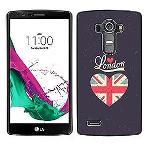 LECELL--Funda protectora / Cubierta / Piel For LG G4 -- El amor de la bandera de Londres gris del corazón Unión Uk --