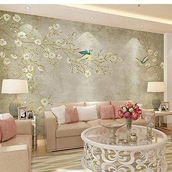 Huangyahui Chinesische Nostalgie, Retro, Einfach Handbemalt Blumen Und  Vogel Tapete, Wohnzimmer Sofa,