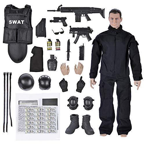 "Army Men Toys,12"" Military Soldier Swat Police Team Action Figures Playset with Military Weapons Accessories for Kids Boys"