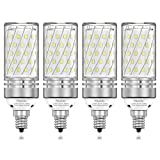 PAVOO E12 LED light bulbs, 12W LED Candelabra Bulbs 100 Watt Equivalent, 1200LM, 6000K Daylight White Ceiling Fan Light Bulbs, Decorative Candle Base E12 Non-Dimmable LED Chandelier Bulbs, pack of 4