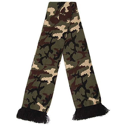 Wrap Military (FLOSO Unisex Camouflage Knitted Winter Scarf With Fringe (One Size) (Dark Green))