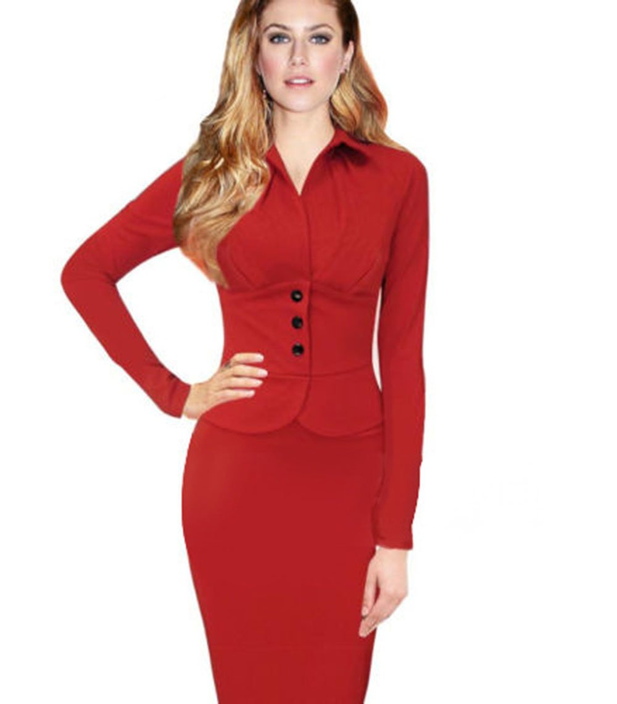 BININBOX® Damen Kleid Business OL Sexy Elegant Langarm Etui ...