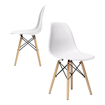 the best attitude af926 f4307 nufurn Beach Wood Eames Style Designer Dining Chair for Living Room (White)  - Set of 2