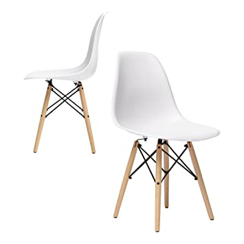 Charming Nufurn Beach Wood Eames Style Designer Dining Chair For Living Room (White)    Set