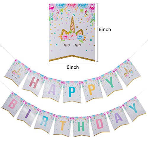 Unicorn Party Supplies,48 Pack Unicorn Cake Topper with 1 Pack Unicorn Happy Birthday Banner Unicorn Theme Party Supplies for Baby Shower Party Decorations Supplies by Deoot (Image #1)