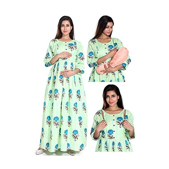 EasyFeed Designer Cotton Printed Maternity/Nursing/Easy Feeding/Gown/Nighty/Breastfeeding/Kurti/Kurta/Dress/with Zippers for PRE and Post Pregnancy for Women Baby Shower Photoshoot