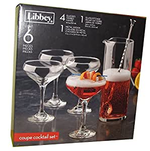 Libbey Coupe Cocktail Set 6 pieces, 4 glasses, 1 pitcher, 1 metal spoon
