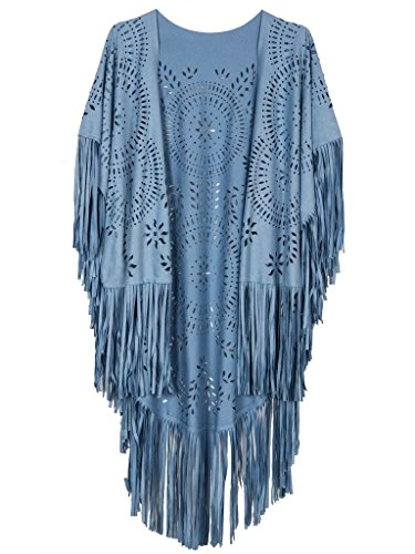 Persun Women Blue Summer Style Floral Geometry Cut Out Asymmetric Fringe Tasseled Kimono,one size ()