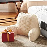 Backrest Pillow with Arms Home Reading Pillow for Adults and Kids | Bed Rest Pillows with High Back for Watching TV and Playing Games | Bundle Includes Home Decorating on a Budget Ebook (Ivory)