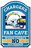 """WinCraft NFL San Diego Chargers 05960010 Wood Sign, 11"""" x 17"""", Black"""