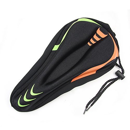 (WOTOW Gel Bike Seat Cover Cushion, Comfortable Silica & Foam Padded Bicycle Saddle Cushion for Spin Exercise Bikes, Road Mountain Bikes, Outdoor Cycling with Water & Dust Resistant Cover (Colorful))