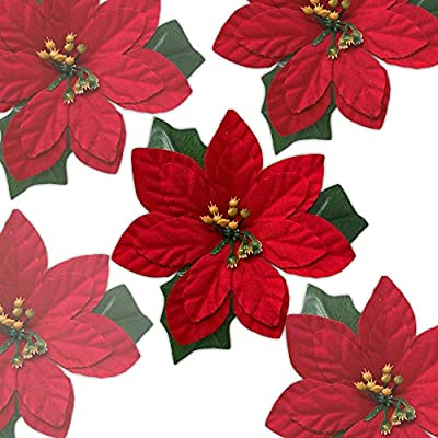 Banberry Designs Poinsettia Flowers Clip On Set Of 24 Red Poinsettias Christmas Decorations Decorative Clips Floral Accessories Amazon Sg Home
