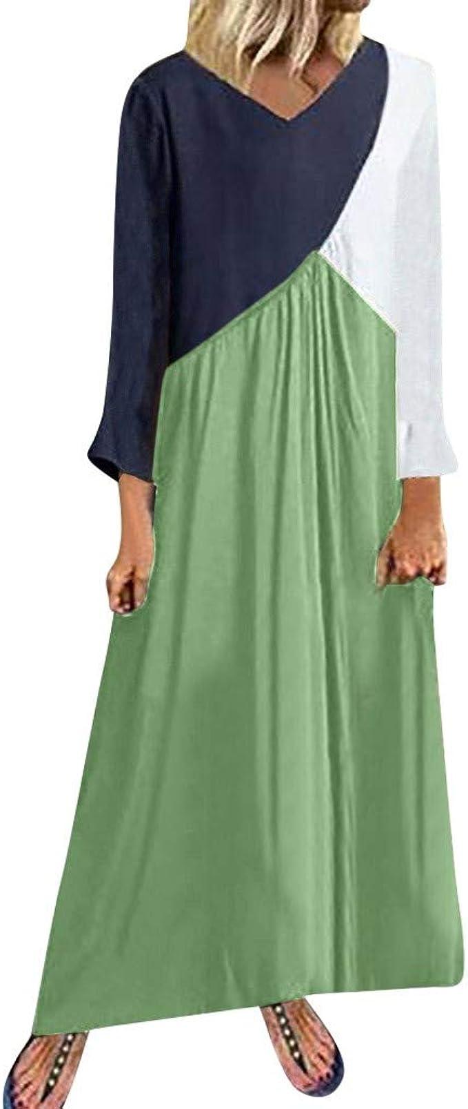 sempre più piuma scopo  ITISME Abiti Lunghi Manica Lunga Cotone e Lino Vestiti Donna Eleganti  Taglie Forti Vestito Casual Ragazze Moda Sexy Festa Dress Abito Cerimonia:  Amazon.it: Abbigliamento