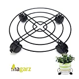 Magarz Heavy Duty Plant Pot Caddy Metal Plant Trolley Rolling Plant Dolly for Outdoor or Indoor