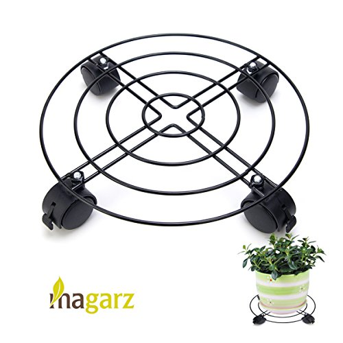 Magarz Heavy Duty Plant Pot Caddy Metal Plant Trolley Rolling Plant Dolly for Outdoor or Indoor by Magarz