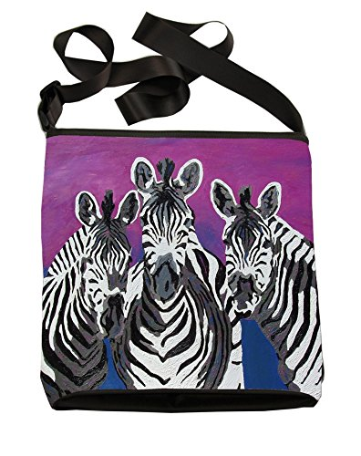 Zebra Print Bucket Bag (Zebras Small Cross Body Handbag - From My Original Paintings, Support Wildlife Conservation, Read How (Zebras - Family))