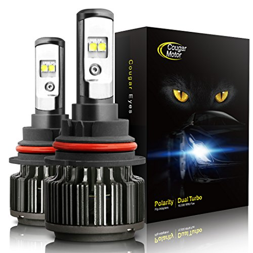 Cougar Motor 9007 (High/Low) LED Headlight Bulbs All-in-One Conversion Kit,7200 Lumen (6000K Cool White)