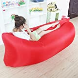 RBL New Outdoor Portable Beanbag Fast Inflatable Sleeping Bag Lazy Air Lounger Sofa Bed (Red)