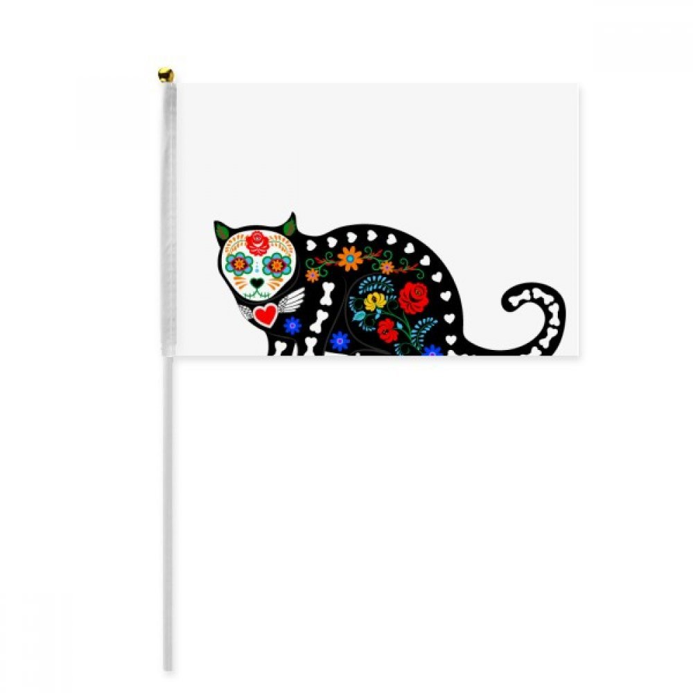 Black Cat Flower Bone Halloween Terror Hand Waving Flag 8x5 inch Polyester Sport Event Procession Parade 4pcs