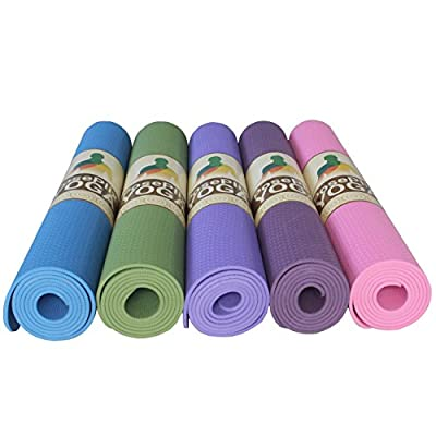 Yoga Mat 72×31×1/4 Nonslip Surface Body Alignment Lines Anti-Tear Exercise Non-Toxic Odorless PosePlix with Carrying Rope