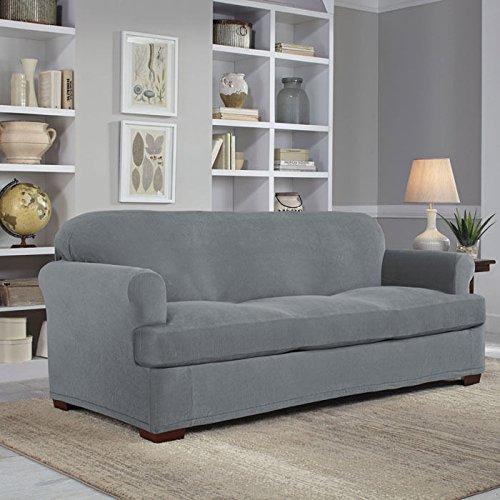 Serta 2 Piece Stretch Grid T Sofa Slipcover, Gray