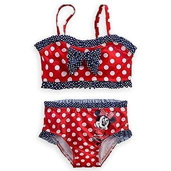 Disney Store Minnie Mouse Swimsuit Size XXS 2/2T 2-Piece Red/White/Blue Swimwear