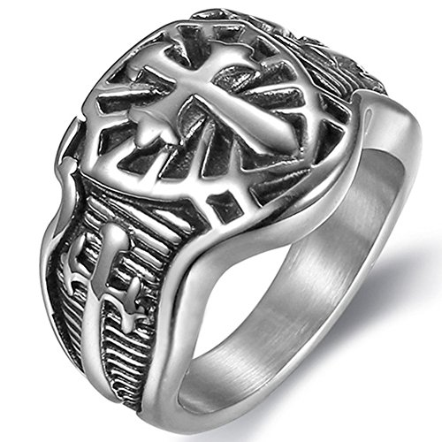 Jude Jewelers Stainless Steel Crusader Sword Cross Medieval Shield Ring (Grey, (Medieval Mens Ring)