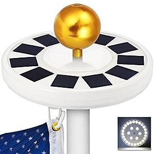 GRDE Solar Flag Pole light 30 LED Flagpole Downlight Lighting Night Light for 15 to 25 Ft Top