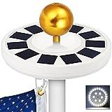 GRDE Solar Flag Pole light 30 LED Flagpole Downlight Lighting Night Light ...