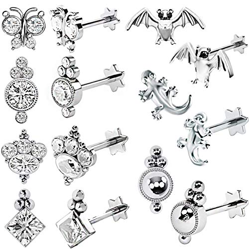 (TOPBRIGHT 14PCS Labret Lip Tragus Helix Cartilage Earrings 16G Internal Thread Earring Barbell Piercings for Men and Women (Silver))