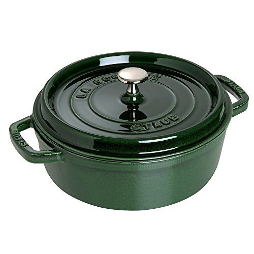 Staub Wide Round Oven Shallow Cocotte, Basil, 4 qt. – Basil For Sale