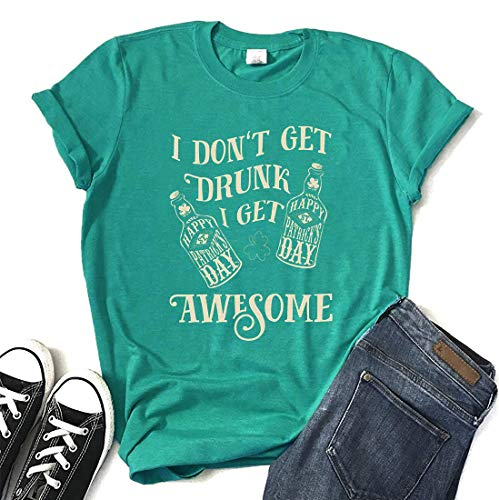 St Patricks Day T Shirt Clover Irish Funny Tee Womens Casual Top Beer Shirt Size XL (Green) ()