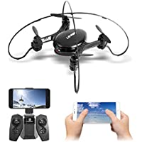 ANNONGONE 2.4GHz Real-time 720P Video FPV RC Quadcopter with Camera, Headless Mode Mini Drone with High Hold, iOS/Android APP Wifi Romote Control and Joystick Control Optional Black