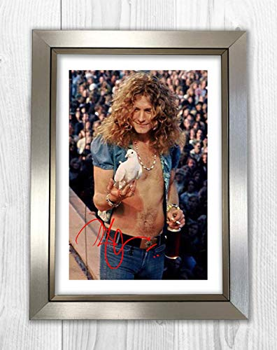 (Engravia Digital Robert Plant (9) Led Zeppelin Reproduction Autograph Poster Photo A4 Print(Silver Frame))