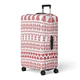 Semtomn Luggage Cover Scandinavian Nordic Winter Sweater Stitch Knit Pattern Including Star Xmas Travel Suitcase Cover Protector Baggage Case Fits 22-24 Inch