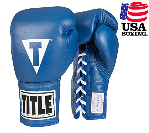 TITLE USA Boxing Competition Gloves (Lace), Blue, 10 oz