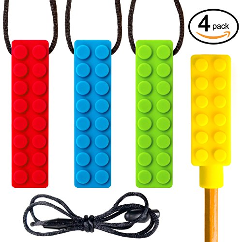 SENSO Sensory Chew Necklace Set - (3 PACK + BONUS PENCIL TOPPER) - Silicone Chew for ADHD, Teething, Autism, Biting, Oral Motor Chew Toy for Kids - Mild/Medium Firmness