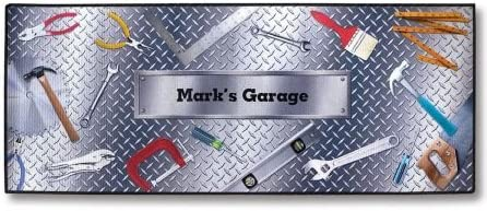 Lillian Vernon Personalized Garage Double-Width Floormat – Large 23 x 57 W Non-Skid Rubber Back, Polyester Garage Doormat, Custom Welcome Mat