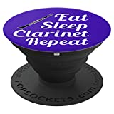 Clarinet Player Gift - Eat Sleep Clarinet Repeat - Blue - PopSockets Grip and Stand for Phones and Tablets