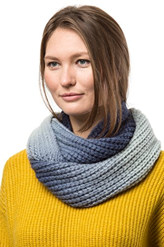Marino's Women's Cable Knit Infinity Scarves, Fashion Winter Circle Scarf Wrap - Ombré Navy