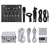 Festnight USB External Sound Card & Condenser Microphone & Microphone Stand & Monitor Earphone Set for Online Music Recording