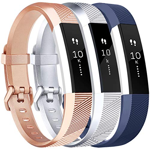 Vancle Bands Replacement for Fitbit Alta HR and Fitbit Alta (3 Pack), Newest Sport Replacement Wristbands with Secure Metal Buckle for Fitbit Alta HR/Fitbit Alta (Blue Silver Rose-Gold, Small)