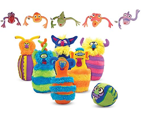 Melissa & Doug Monster Plush Bowling Game with 5 Finger Monsters (Random Assortment). ()