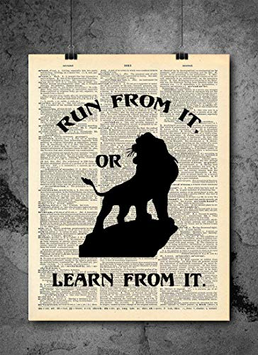 Lion King - Mufasa Run or Learn From It Quote   Inspirational Art - Vintage Dictionary Print 8x10 inch Home Vintage Art Prints Wall Art for Home Decor Wall Decorations Upcycled Book Art Unframed