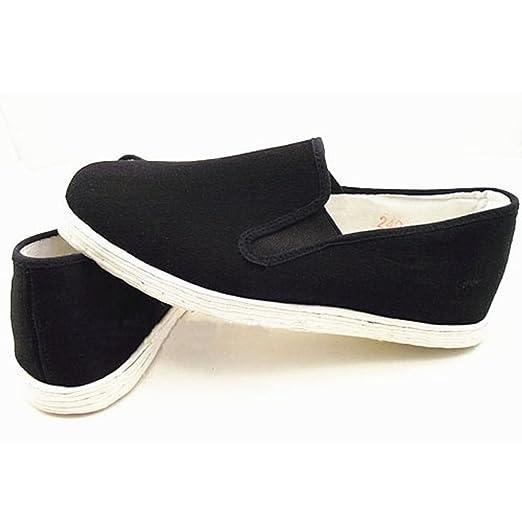 zooboo Hombre Negro Gamuza Zapatos Calzado de artes marciales Kung Fu práctica Wear Ejercicio Por la mañana Tai Chi Zapatos Negro, Cloth Cotton Soles