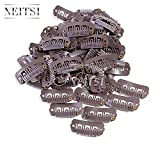 Neitsi® 50pcs U-shape Snap Clips Metal Clips for Hair Extensions DIY Clip-on (2.3cm, Brown)