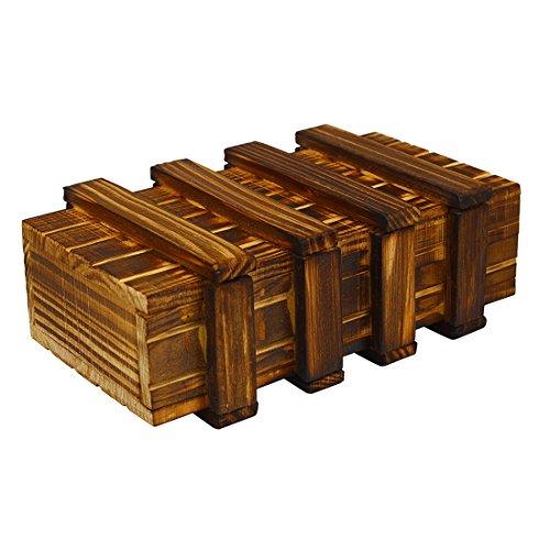 Andux Land Juego de rompecabezas de regalo de truco de caja de madera con cajón secreto extra seguro FGJGH-01