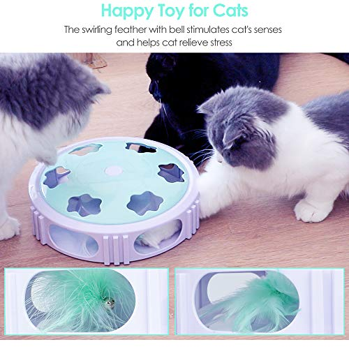 DELOMO Interactive Cat Toy, Automatic Teaser Cat Toy for Your Cat Training, Cat Squeaky Mouse Toy with Feather Bell and LED Light Stimulate Cat's Hunting Instinct 3