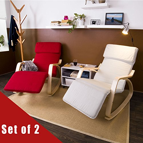 Haotian Comfortable Relax Rocking Chair with Foot Rest Design, Lounge Chair, Recliners Poly-cotton Fabric Cushion ,Set of 2 IN ANY COLOR, (Us Reclining Rocking Chair)